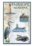 Fairhope, Alabama - Nautical Chart Kunstdruck von Lantern Press 