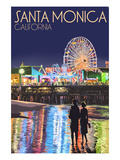 Santa Monica, California - Pier at Night Poster by Lantern Press 