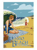 Pismo Beach, California - Woman and Beach Scene Art by  Lantern Press