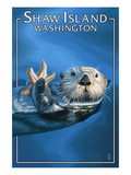Shaw Island, Washington - Sea Otter Art by  Lantern Press