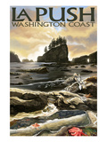 La Push Beach and Motorcycle, Washington Poster van  Lantern Press