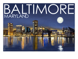 Baltimore, Maryland - Skyline at Night Posters by  Lantern Press