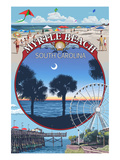 Myrtle Beach, South Carolina - Montage Art by  Lantern Press