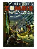 Los Angeles, California - Zombie Apocalypse Print by  Lantern Press
