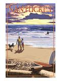Nantucket, Massachusetts - Sunset Beach Scene Prints by  Lantern Press