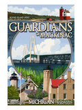 Guardians of Mackinac, Michigan - Montage Scenes Prints by  Lantern Press