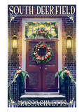 South Deerfield, Massachusetts - Christmas Door Art by  Lantern Press