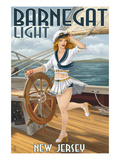 Barnegat Light, New Jersey - Pinup Girl Sailing Art by  Lantern Press