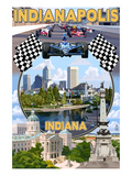 Indianapolis, Indiana - Montage Scenes Posters by Lantern Press 