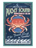 Seattle, Washington - Dungeness Crab Kunst af  Lantern Press