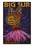 Big Sur, California - Butterfly and Flower Art by Lantern Press