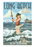 Long Beach Island, New Jersey - Pinup Girl Fishing Posters by  Lantern Press