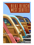 Alki Beach, West Seattle, WA - Woodies Lined Up Prints by Lantern Press
