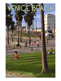 Venice Beach, California - Boardwalk Scene Art by  Lantern Press