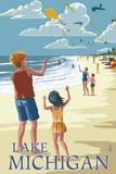 Lantern Press - Lake Michigan - Children Flying Kites - Sanat