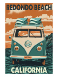 Redondo Beach, California - VW Van Prints by Lantern Press