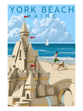 York Beach, Maine - Sand Castle Prints by  Lantern Press