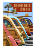 Laguna Beach, California - Woodies Lined Up Poster by Lantern Press