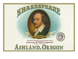 Ashland, Oregon - Shakespeare Cigar Box Label Print by  Lantern Press