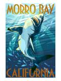 Morro Bay, California - Stylized Sharks Poster von  Lantern Press