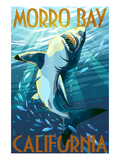 Morro Bay, California - Stylized Sharks Poster by  Lantern Press