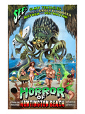 Huntington Beach, California - Alien Attack Horror Art by  Lantern Press