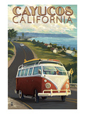 Cayucos, California - VW Van Coastal Drive Prints by  Lantern Press
