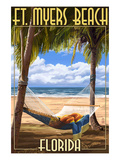 Ft. Myers Beach, Florida - Hammock Poster by  Lantern Press