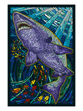 Tiger Shark Paper Mosaic Print by Lantern Press