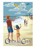 Ocean City, Maryland - Kite Flyers Prints by Lantern Press 