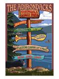 The Adirondacks - Adirondack State Park, New York State - Sign Destinations Print by  Lantern Press