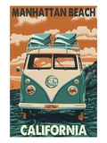 Manhattan Beach, California - VW Van Print by Lantern Press 