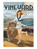Martha's Vineyard - Sailing Pinup Girl Poster by  Lantern Press
