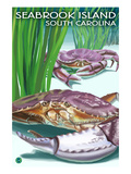 Seabrook Island, South Carolina - Dungeness Crab Art by  Lantern Press