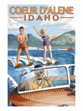 Coeur D&#39;Alene, Idaho - Water Skiing Scene Affiches par Lantern Press 