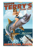 Marco Island, Florida - Pinup Girl Tarpon Fishing Prints by  Lantern Press