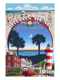Hilton Head, South Carolina - Montage Kunstdruck von  Lantern Press