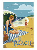 Alki Beach, West Seattle, WA - Woman on Beach Prints by  Lantern Press