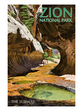 Zion National Park - The Subway Poster von  Lantern Press