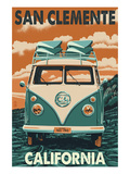 San Clemente, California - VW Van Prints by  Lantern Press