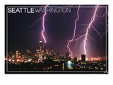 Seattle, Washington - Skyline and Lightening Strike Print by  Lantern Press