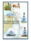 Outer Banks, North Carolina - Nautical Chart Print by  Lantern Press