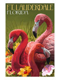 Ft. Lauderdale, Florida - Flamingo Scene Prints by  Lantern Press