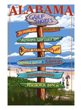 Gulf Shores, Alabama - Sign Destinations Poster by  Lantern Press