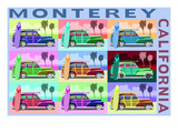 Monterey, California - Woodies Pop Art Art by  Lantern Press