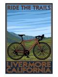 Livermore, California - Mountain Bike Scene Print van  Lantern Press
