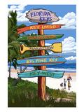 Florida Keys - Sign Destinations Art by  Lantern Press