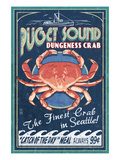 Puget Sound - Dungeness Crab Art by  Lantern Press