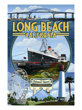 Long Beach, California - Montage Prints by  Lantern Press