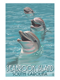 Seabrook Island, South Carolina - Dolphins Prints by Lantern Press